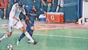 Luis Suarez comete falta na jogada do 2° gol contra o Real Madrid