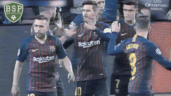Messi comemora com Arthur e Alba Barcelona vs Lyon 5x1